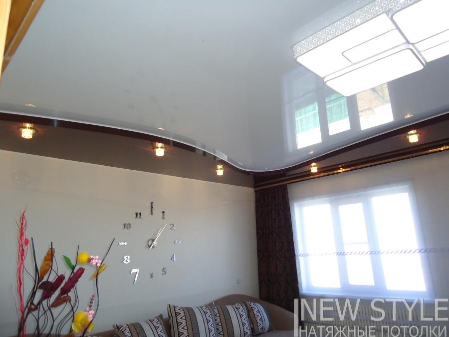 натяжные потолки в зале двухуровневые фото